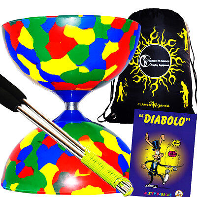 Jester Diabolo (4Col) Metal Diabolo Hand Sticks + Diablo Tricks Book +Travel BAG • 20.94£