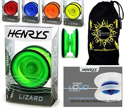 Henry's Lizard YoYo - Pro String Trick Yo Yo's + FREE BOOK Of Tricks+ Travel Bag • 14.90£