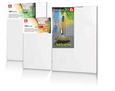 Canvas Artist Stretched Acrylic Primed Box Framed Cotton Art Craft Blank Chunky • 6.99£