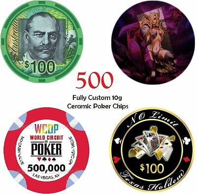 500 X 10g CUSTOM MADE CERAMIC POKER CHIPS • 362.21£