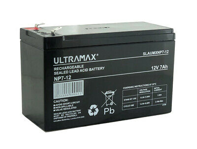 2 (Pair) ULTRAMAX 12V 7AH Battery Electric Razor Scooter E300, Pocket Mod, Mx350 • 27.54£