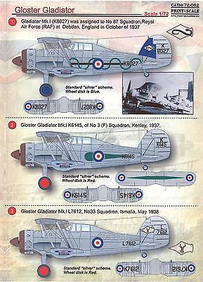 Print Scale Decals 1/72 GLOSTER GLADIATOR Fighter • 6.57£