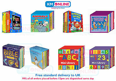 Mini Library Set Of Board Book Kids Animals,Nursery Rhymes,Bedtime Story,ABC,123 • 3.57£