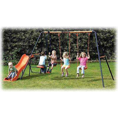 Hedstrom Europa Sturdy Wavy Slide Double Swing And Glider 36m - 10 Yrs Outdoors • 169.99£