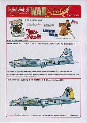 Kits-World KW148053 1/48 B17G Flying Fortress 'Liberty Belle' Model Decals • 10.75£