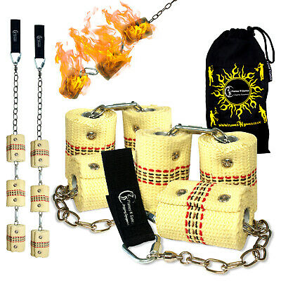 Fire Poi - TRIPLE Burner  Flames N Games Pro Fire Spinning Poi/ 65mm Wick + Bag! • 62.99£