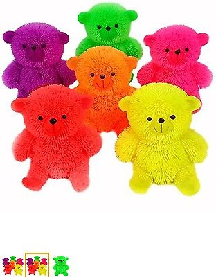 Set Of 3 Light Up Flashing Puffer Teddy Bears Assorted Colours • 5.99£