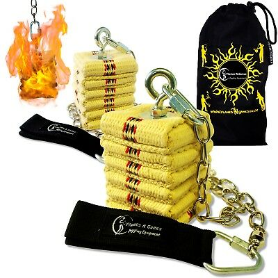 Pro CATHEDRAL Wick Fire Poi - Professional Kevlar Fire Poi Set + Travel Bag! • 52.95£