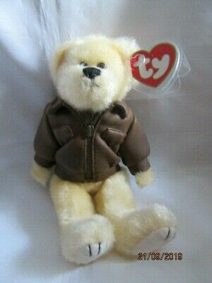 Ty Beanies - Attic Treasures Baron The Pilot Bear With Tags - Mint - Retired • 5.99£