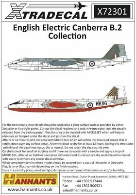 Xtradecal X72301 1/72 BAC/EE Canberra B.2 Model Decals • 8.29£