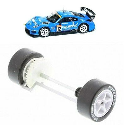Scalextric W9318 Nissan 350Z Rear Wheels Gear Tyres & Axle Bearings New Calsonic • 6.99£