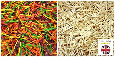 Natural & Colour Wooden Matchsticks 1 - 1000 Pcs Model Arts Craft Match Splints • 3.95£