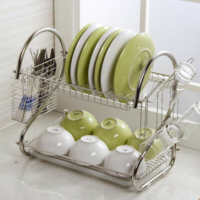 2 Tier Dish Drainer Rack Storage Drip Tray Sink Drying Wired Draining Plate Bowl • 8.99£
