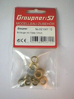 GRAUPNER BRASS PORTHOLES WITH 5 RIVETS GLAZED 12mm  #SZ1007.12 • 9.99£