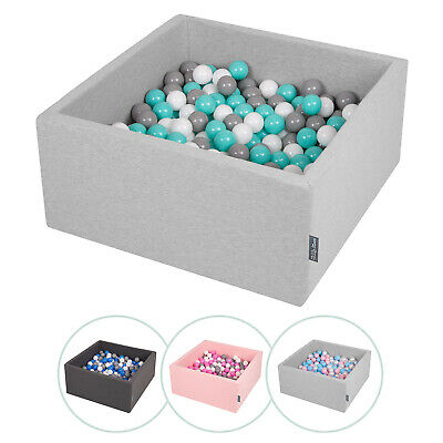 KiddyMoon New Soft Baby Ball Pit Foam Square 90x40 With 200/300 Balls,MultiColor • 94.99£