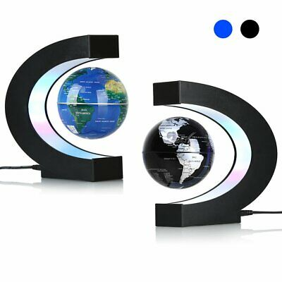 C Shape Floating Globe World Map LED Light Decor Magnetic Levitation 2 Colors UK • 18.99£