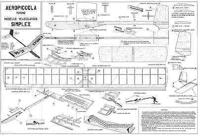 Aeropiccola Simplex Free Flight Glider Model Plan With Parts Patterns • 4.99£