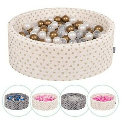 KiddyMoon New Soft Baby Ball Pit Foam Pool 90x30 With 200/300 Balls, Crown • 89.99£
