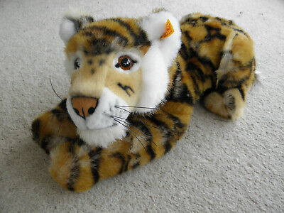 BEAUTIFUL STEIFF STRIPED SCHADAH LYING DOWN TIGER 066177 ~ Tags And Box • 50£