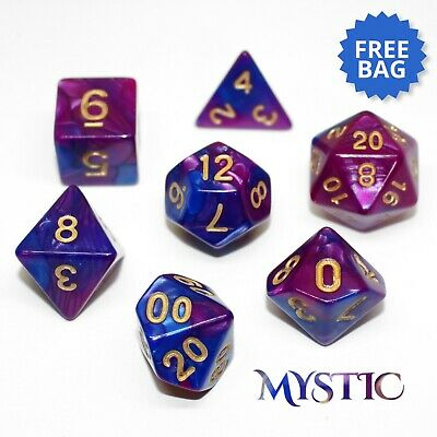 Elemental 'Mystic' Poly Dice Set 7 Pieces Blue Purple And Gold D&D With FREE BAG • 4.25£