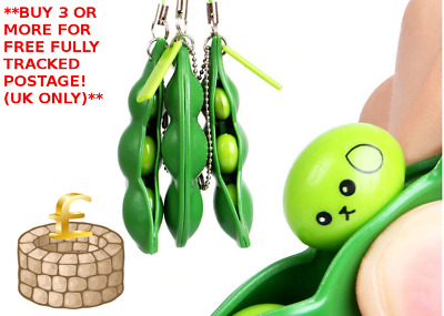 1x Stress Relief Toy Anti-Anxiety Toy Adults Autism Pea Pod Keyring Squeezy Bean • 2.49£