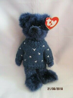 Ty Beanies - Attic Treasures Orion Blue Bear With Tag - Mint - Retired • 9.99£