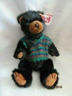 Ty Beanies - Attic Treasures Boris Black Bear With Tag - Mint - Retired • 14.99£
