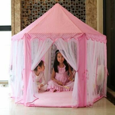 Girls Kids Pink Teepee Castle Play Tent Playhouse Indoor Outdoor Garden Pop Up • 23.48£