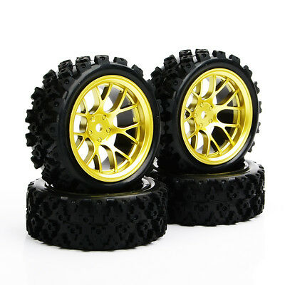 4Pcs 1:10 Rubber Rally Tyres Gold Wheel Rim&tires For HSP RC Off Road Racing Car • 11.69£