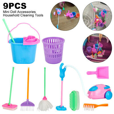 Kids Cleaning Toys Sweeping Play Set Childrens Pretend - Mop Broom Brush Dustpan • 6.99£