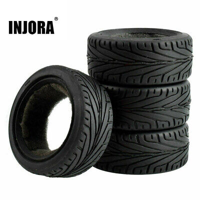4pcs RC 1/10 On Road Rubber Tyre Tire Fit 1:10 Traxxas HSP Tamiya HPI Kyosho • 5.99£