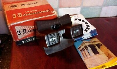 Brown Bakelite VIEWMASTER MODEL E  & 16 REELS Made In Belgium 1957 BOXED • 49.99£