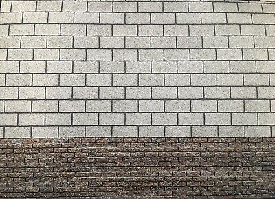 1/18 Diorama 2 Tone Dirty Red Brick And Grey Block  ( 5 Sheets)  Landscape 0217 • 15£