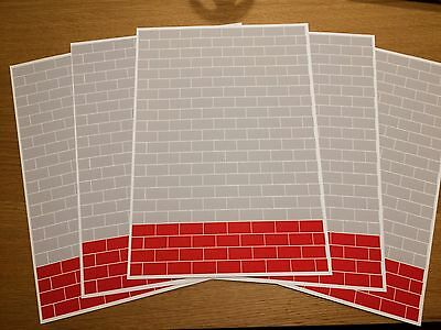 1/18 Diorama Red / Grey   Block Walling ( 5 Sheets) Portrait   0052 • 15£