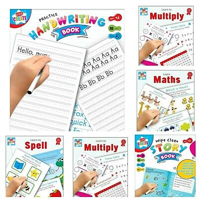 Kids Wipe Clean Educational Fun Learning Books Writing Spelling Maths Numbers • 3.49£
