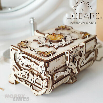 UGears AMBER BOX 70090 Wooden Mechanical Construction Jewelery Box 3D Puzzle Kit • 39.59£