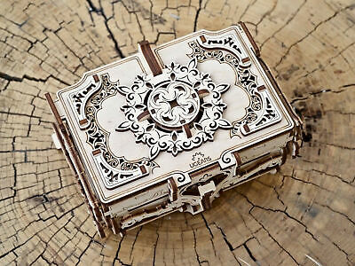 UGears ANTIQUE BOX 70089 Wooden Mechanical Construction Jewelery 3D Puzzle Kit • 30.15£