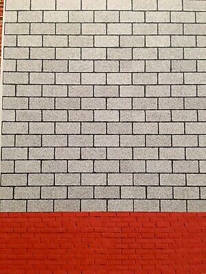 1/18 Grey Block And Red Brick Walling ( 5 Sheets) Portrait 0073 • 15£