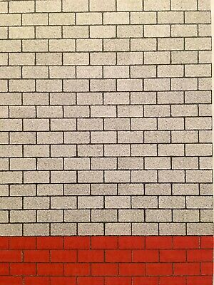 1/18 Grey Block And Red Block Walling ( 5 Sheets) Portrait 0074 • 15£