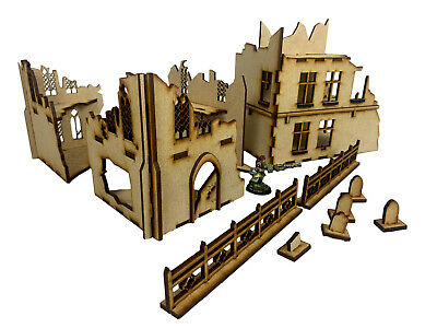 28 Mm Scale Ruined Rectory And Church For Warhammer/Tabletop/ MDF Scenery • 13.50£