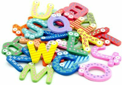 Funky Fun Colorful Magnetic Letters A-Z Wooden Fridge Magnets Kid Toys Education • 4.99£