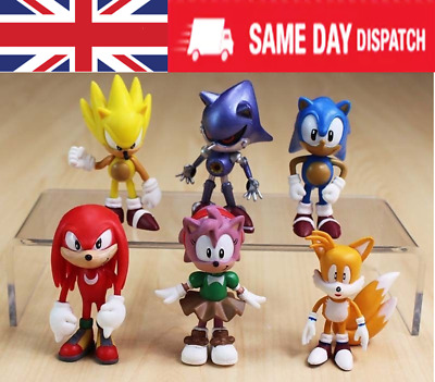 6PC Sonic The Hedgehog Knuckles Amy Tail Metal Action Figures Toy Cake • 8.45£