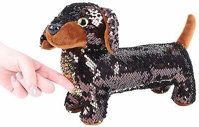 24cm GOLD & BROWN Reversible Sequin Sausage Dog Soft Toy (PL11) • 8.99£