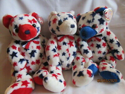 Ty Beanie Buddy Red White And Blue Bears ( 3 ) Retired With Tag - Mint Condition • 29.99£