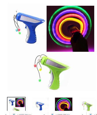 Kids Light Up LED SPINNER TOY GUN -Rope Spin Propellor Beads, Parties, Gift  • 4.99£
