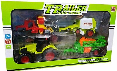 Kids Friction Power Farm Tractor With Trailer Toy Fun Play Set • 10.99£