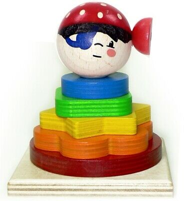 Stacking Tower Pirate 90 X 90 X 110 New Pegging Game Wooden Sorting Ore • 8.42£