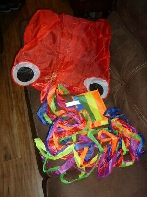 Large 4m Red Octopus 3D Easy Flyer Kite 158 Inch Rainbow Tail For Kids Adults UK • 6.80£