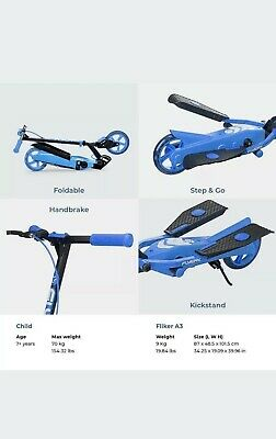 Yvolution Y Flyer Kids Foldable Pedalling Stepper Scooter Ages 7+  Blue • 58.99£