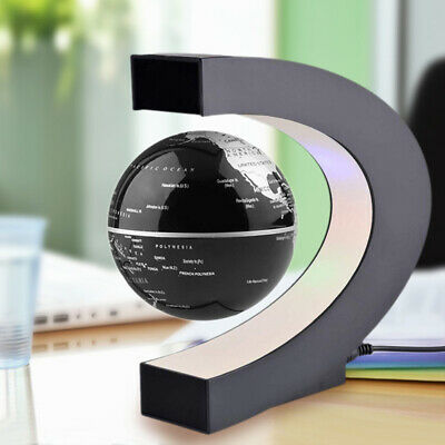 LED Magnetic Levitation  Floating Rotating World Earth Globe Map C Shape Base • 18.95£